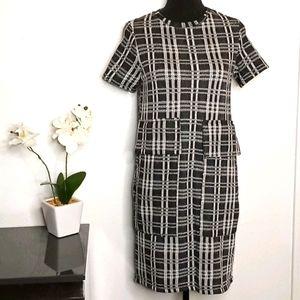 Zara sz S window pane black white midi dress